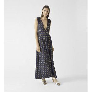 Ace & Jig Celestial Maxi Dress Patina Gold Navy S